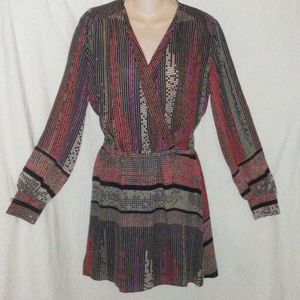 PARKER M Silk Geometric Print L/S Dress New